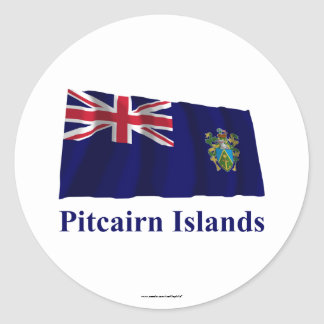 Pitcairn Islands Waving Flag with Name Sticker