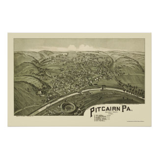 Pitcairn, mapa panorámico del PA - 1901 Póster