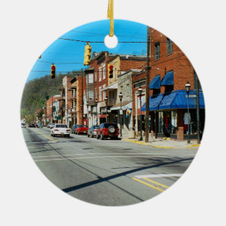 Pitcairn, PA-Photo-Holiday-Ornament-Night-Day- Ceramic Ornament