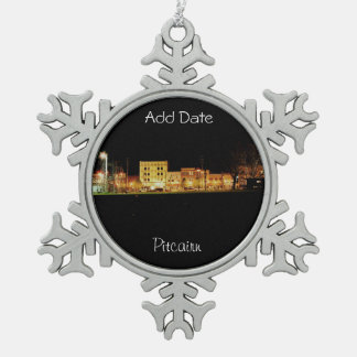 Pitcairn,Pa-Photo-Snowflake-Holiday-Ornament Snowflake Pewter Christmas Ornament