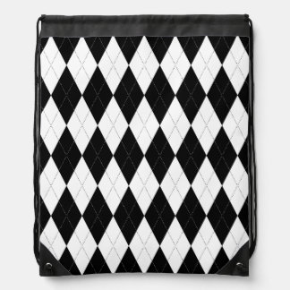 Pitch Black Argyle White Small Diamond Shape Drawstring Bag