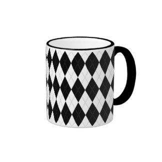 Pitch Black Argyle White Small Diamond Shape Ringer Mug
