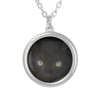 Pitch Black Feral Kitten With Shiny Loving Eyes Pendant