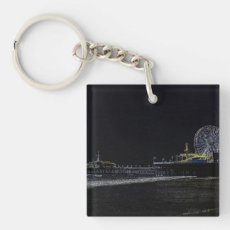 Pitch Black Neon Santa Monica Pier Keychain