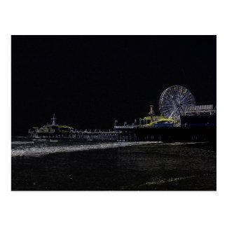 Pitch Black Neon Santa Monica Pier Postcard