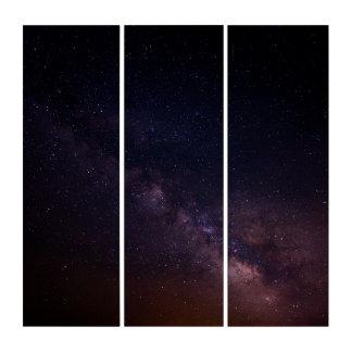 Pitch Dark Purple Haze Galaxy Acrylic Triptych Art