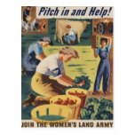 Pitch in and Help Join the Women's Land Army Postcard
