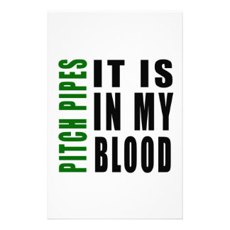 Pitch Pipes It Is In My Blood Personalized Stationery