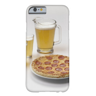 Pitcher and two pints of beer beside pepperoni barely there iPhone 6 case