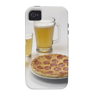 Pitcher and two pints of beer beside pepperoni case for the iPhone 4