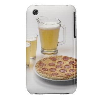 Pitcher and two pints of beer beside pepperoni iPhone 3 cover