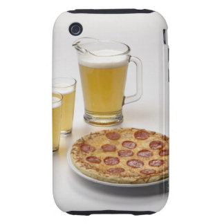 Pitcher and two pints of beer beside pepperoni iPhone 3 tough case