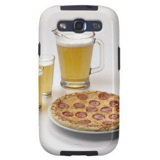 Pitcher and two pints of beer beside pepperoni galaxy s3 covers