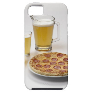 Pitcher and two pints of beer beside pepperoni iPhone 5 cases