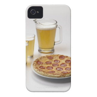 Pitcher and two pints of beer beside pepperoni iPhone 4 case