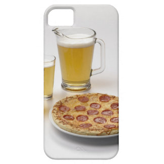 Pitcher and two pints of beer beside pepperoni iPhone SE/5/5s case