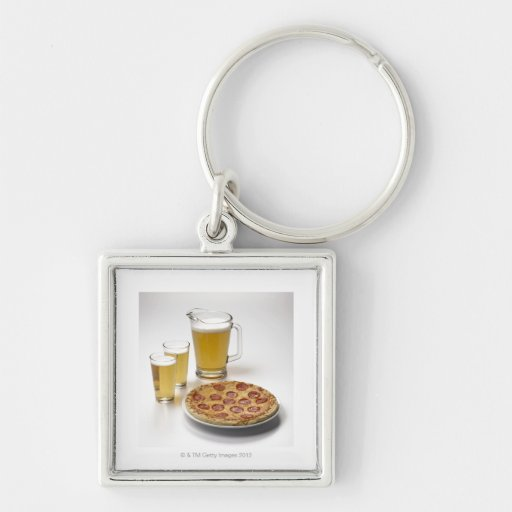 Pitcher and two pints of beer beside pepperoni Silver-Colored square keychain
