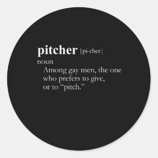 PITCHER (definition) Classic Round Sticker