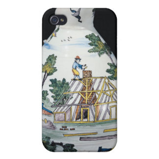 Pitcher depicting the construction of a iPhone 4 case
