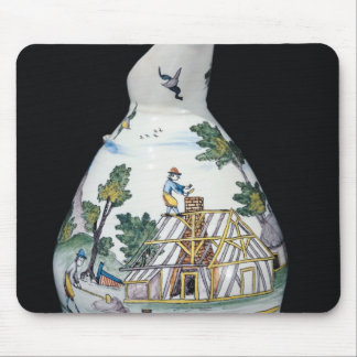 Pitcher depicting the construction of a mouse pad