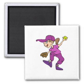 Pitcher Girl 2 Inch Square Magnet