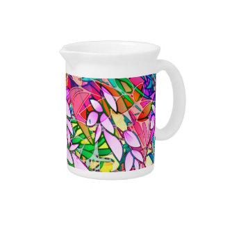 Pitcher Grunge Art Floral Abstract