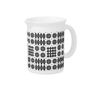Pitcher, Jug Welsh Tapestry Pattern Black on White Drink Pitcher