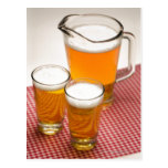 Pitcher of beer and two glasses filled with beer postcard