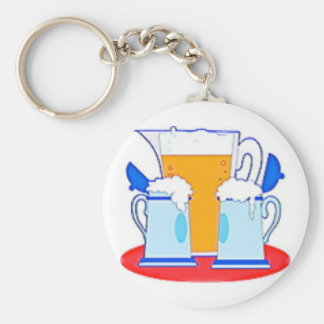 Pitcher of Beer & Glasses Basic Round Button Keychain