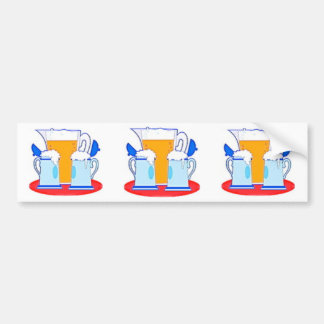 Pitcher of Beer & Glasses Bumper Stickers