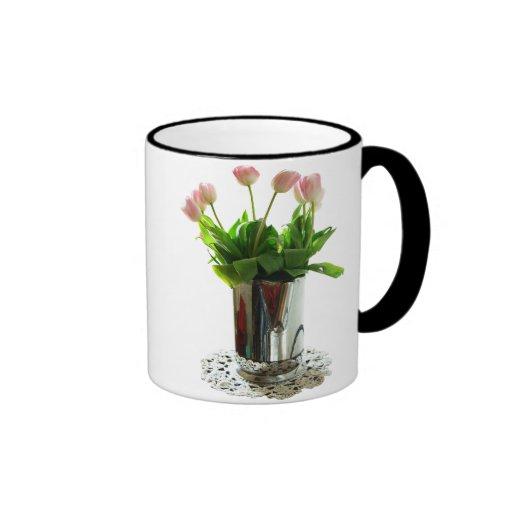 Pitcher of Pink Tulips Ringer Coffee Mug