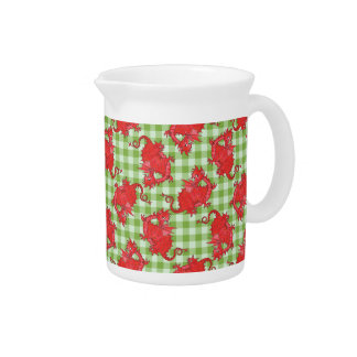 Pitcher or Jug: Cute Red Dragon on Green Gingham
