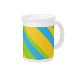 Pitcher or Jug: Turquoise Yellow Green Stripes