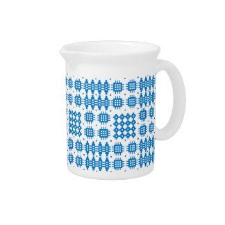 Pitcher or Jug Welsh Tapestry Pattern, Bright Blue