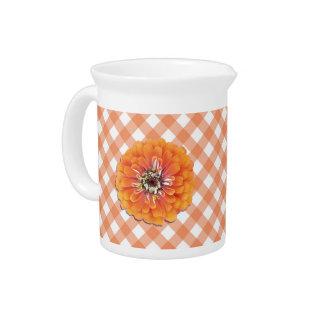 Pitcher - Orange Zinnia on Lattice