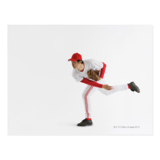 Pitcher Throwing Baseball Postcard