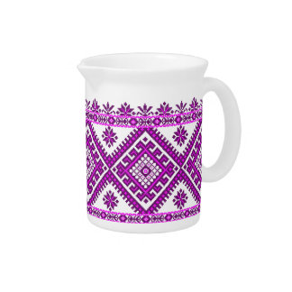 Pitcher Ukrainian Cross Stitch Graphic Purple