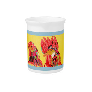 Pitcher with Bright Rooster Design