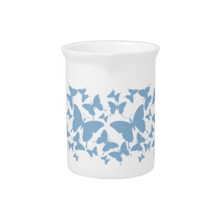 Pitcher with butterfly pattern in powder blue