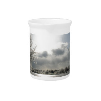 pitcher with photo of icy winter landscape