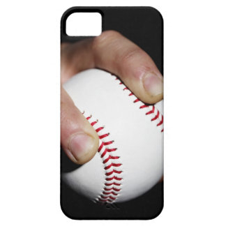 Pitchers hand gripping a baseball iPhone 5 covers