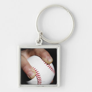 Pitchers hand gripping a baseball Silver-Colored square keychain