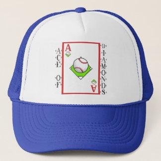 Pitching Ace: Ace of Baseball Diamonds Trucker Hat