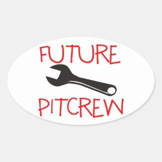Pitcrew futuro pegatina ovalada