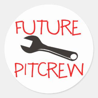 Pitcrew futuro pegatina redonda
