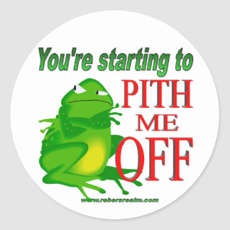 Pithed off frog 2 classic round sticker