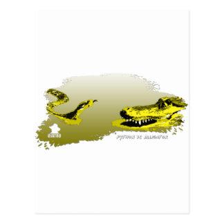 Pitón contra el amarillo 01 del cocodrilo tarjetas postales