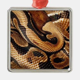 pitón de la bola de los amantes de la serpiente adorno cuadrado plateado