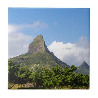 Piton de la Petite mountain in Mauritius panoramic Tile