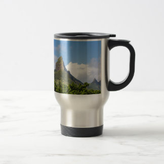 Piton de la Petite mountain in Mauritius panoramic Travel Mug
